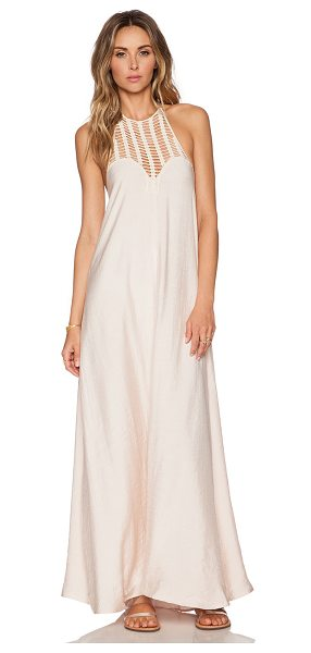 Le Salty Label Sundown maxi dress in blush - 65% rayon 35% poly. Halter neck tie closure. Neckline to...