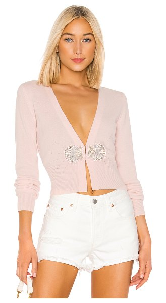 Le Superbe Pismo Beach Cashmere Cardigan in pink - 100% cashmere. Dry clean only. Front crystal and beaded...