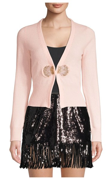 Le Superbe pismo beach cashmere cardigan in pink - Luxe cashmere cardigan with front embroidered shell...