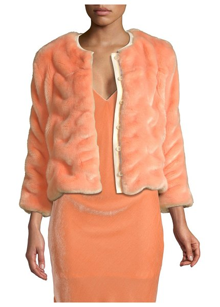 Le Superbe plush coat in blush - Luxurious quilted coat with cropped silhouette in soft...
