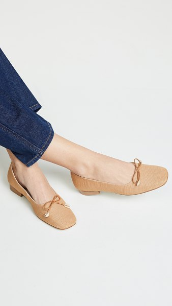 LEANDRA MEDINE square toe flats in beige - Fabric: Textured canvas Shell detailing Leather lining...