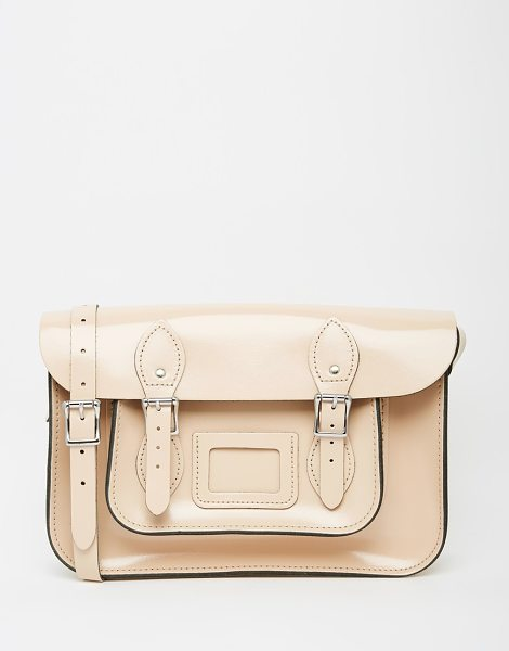 Leather Satchel Company The  12.5 satchel in patent taupe - Cart by The Leather Satchel Co. Smooth leather Contrast...