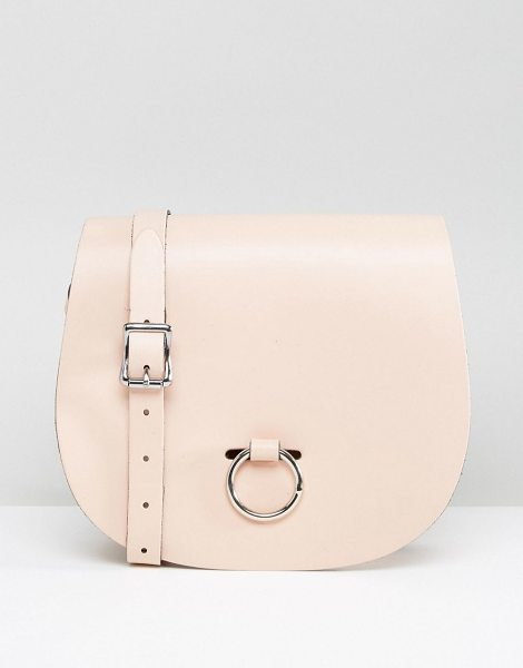 Leather Satchel Company Saddle Bag with Bull Ring Closure in pink