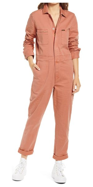 Lee union all long sve utility jumpsuit in coral