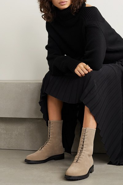 legres suede ankle boots in taupe