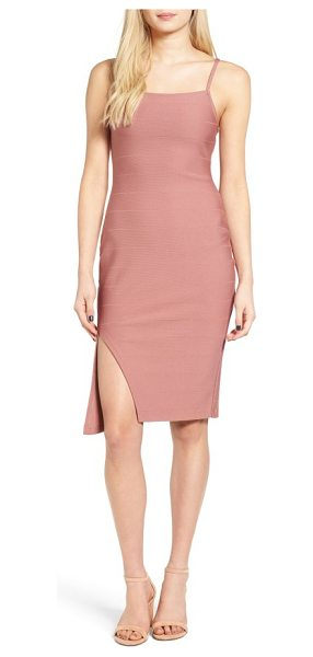 Leith bandage body-con dress in burgundy rose - Crafted with plenty of stretch to flaunt every curve,...
