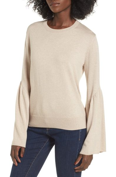 Leith bell sleeve sweater in tan ethereal heather - Voluminous bell sleeves add playful volume to a...
