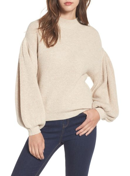 Leith blouson sleeve sweater in tan etherea heather - Exaggerated blouson sleeves add slouchy charm to a...