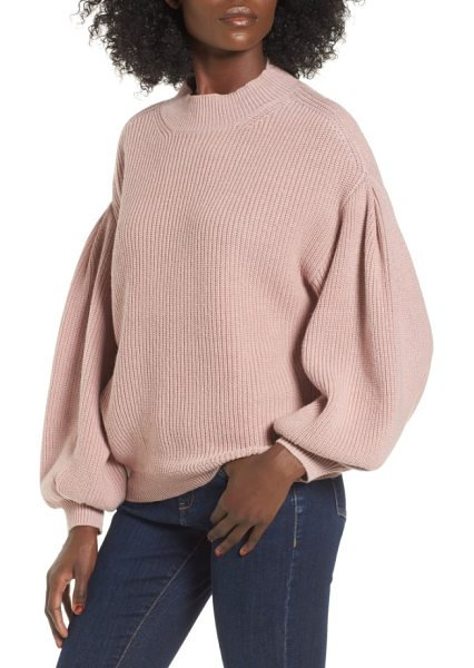 Leith blouson sleeve sweater in pink adobe - Exaggerated blouson sleeves add slouchy charm to a...