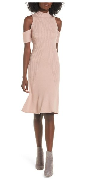 Leith cold shoulder sweater-dress in pink adobe - Carry the shoulder-baring trend into next season with...