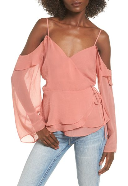 Leith cold shoulder wrap top in pink desert - Make your weekend a little more romantic in this swingy...
