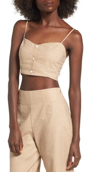 Leith crop tank in beige sand stripe - This cropped, striped top works great as a standalone or...