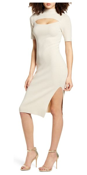 Leith cutout front mock neck sweater dress in beige