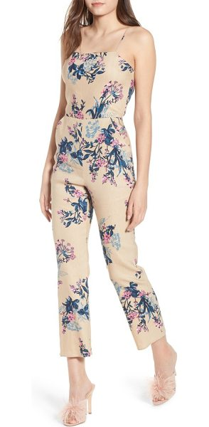 Leith cutout jumpsuit in tan sesame ghost floral - In a tailored silhouette with a flirty back cutout, this...