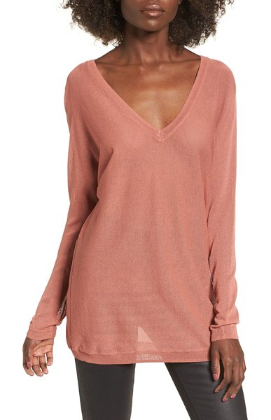Leith double v-neck sweater in coral cedar - Deep V-necklines that flash a hint of skin enhance the...