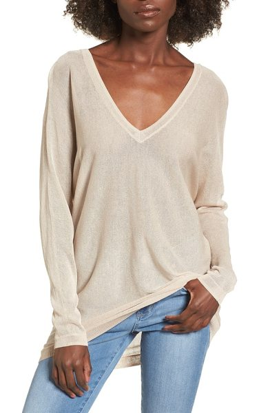 Leith double v-neck sweater in beige morn - Deep V-necklines that flash a hint of skin enhance the...