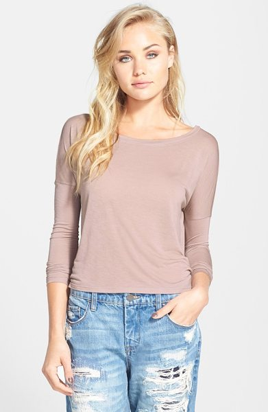 Leith drop shoulder crop tee in rose sphinx - Feathery, semi-sheer modal shapes a three-quarter sleeve...