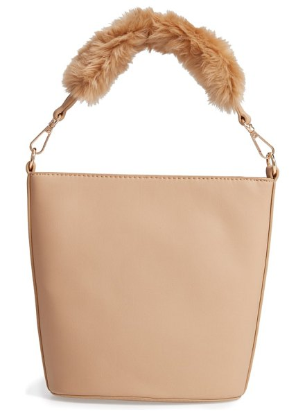 Leith faux fur handle medium crossbody bag in tan - The plush faux fur-trimmed top handle of this...