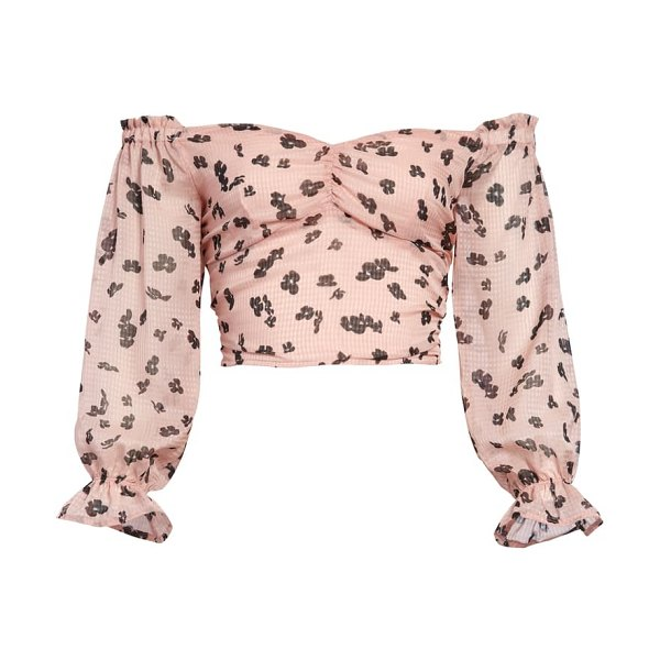Leith floral print off the shoulder crop top in pink
