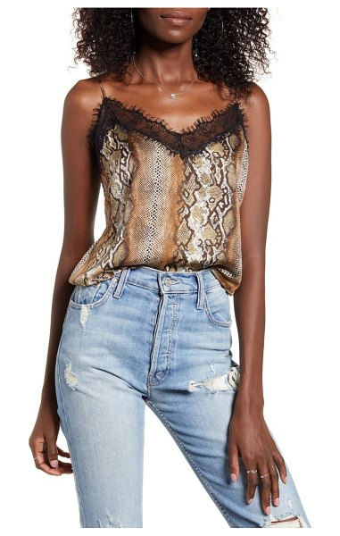 Leith lace trim tank in brown