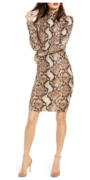 Leith long sleeve body-con dress in brown