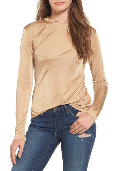 LEITH long sleeve shine top - A luminous, drapey knit enhances the close, body-hugging...