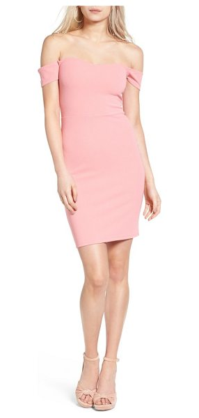 Leith off the shoulder body-con dress in pink blossom - An off-the-shoulder neckline and a slim silhouette spell...