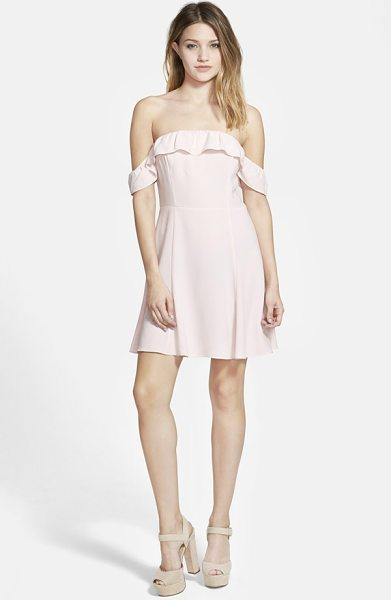 Leith off the shoulder swing dress in pink potpourri - Exquisite ruffles detail the flirty off-the-shoulder...