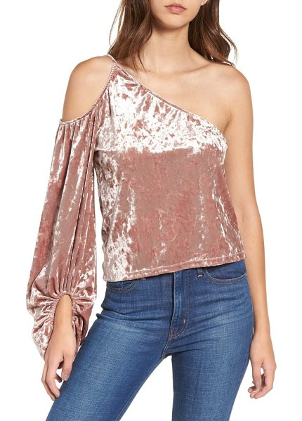Leith one-shoulder velour top in pink adobe - Plenty of drama is packed into the single blouson sleeve...