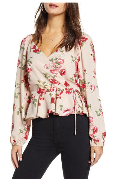 Leith portrait floral print wrap top in pink