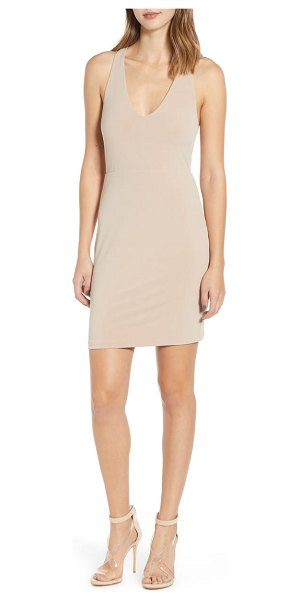 Leith racerback body-con dress in brown - Show off your curves in this shapely, scoop-neck mini...