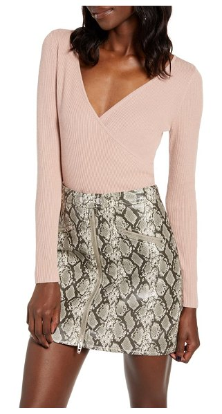 Leith rib wrap sweater in pink