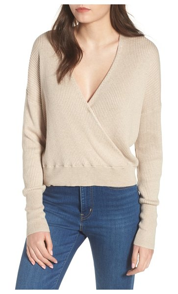 Leith rib wrap sweater in tan etherea heather - A plunging wrap-style neckline gives a cozy ribbed...