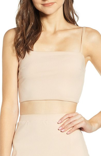 Leith ribbed cropped tank top in beige