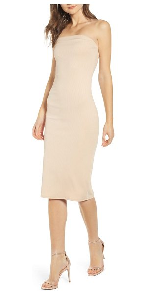 Leith ribbed strapless tube dress in beige