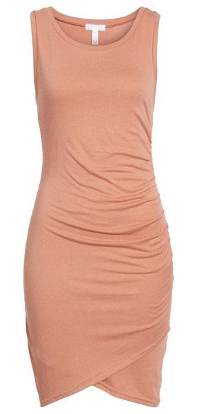 Leith ruched body-con tank dress in coral cedar heather - Gentle ruching at one side adds soft texture to a slinky...