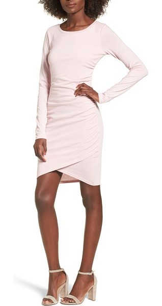 Leith ruched long sleeve dress in pink zephyr heather