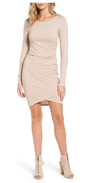 Leith ruched long sleeve dress in pink adobe heather
