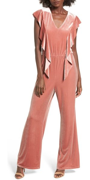Leith ruffle velour jumpsuit in coral cedar