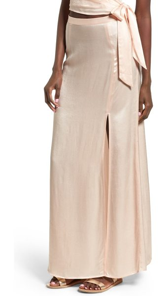 Leith satin maxi skirt in pink scallop - This sateen-finished maxi shows off your glam side with...