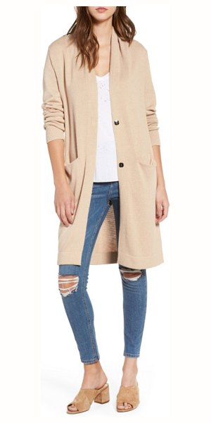 Leith shawl collar cardigan in tan nomad - A slouchy long cardigan knit with nearly hidden front...