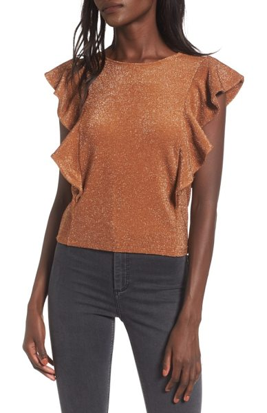 Leith shine double ruffle top in tan cork - Be your own spotlight in this cropped top knit with...
