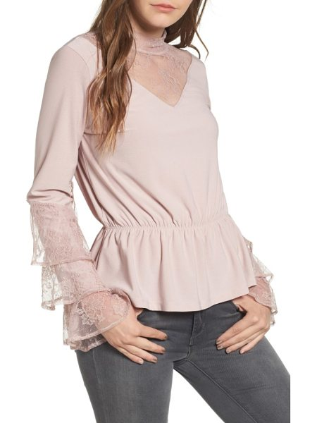 Leith spiral lace top in pink adobe - Tiers of lace ruffles tumble down the sleeves of this...