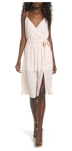 Leith surplice tie waist dress in pink scallop - A wrap-skirt overlay makes this romper an effortlessly...