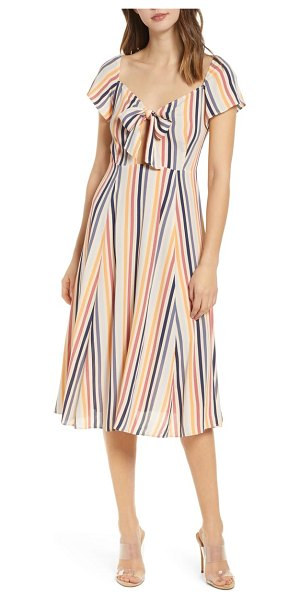 Leith tie front midi dress in beige - A colorful print makes this flutter-sleeve, tie-front...
