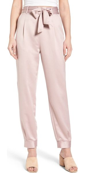 Leith tie waist satin pants in pink adobe - These shimmering satin pants rest high on the waist and...