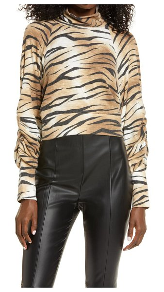 Leith tiger print mock neck long sleeve top in brown