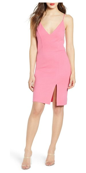 Leith v-neck body-con dress in pink