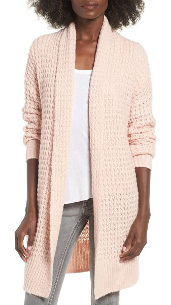 Leith waffle knit cardigan in pink smoke - Warm, chunky and totally cozy. This waffle-knit top...