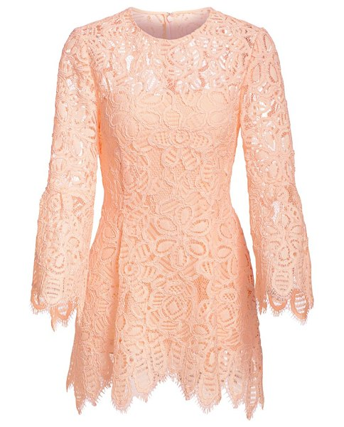 Lela Rose bell sleeve corded lace blouse in blush